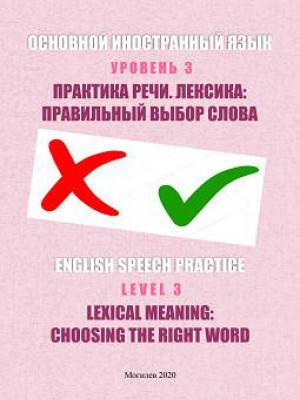 Основной иностранный язык. Уровень 3. Практика речи. Лексика: правильный выбор слова